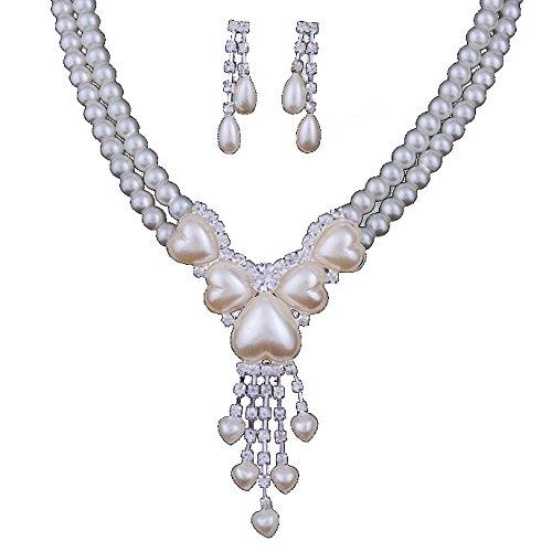 Miya Mega Glamour glitzs perla collana catena con dolce amore cuore in cristalli perle e orecchini, Set sposa gioielli matrimonio sera eventi party Jugend Weihe