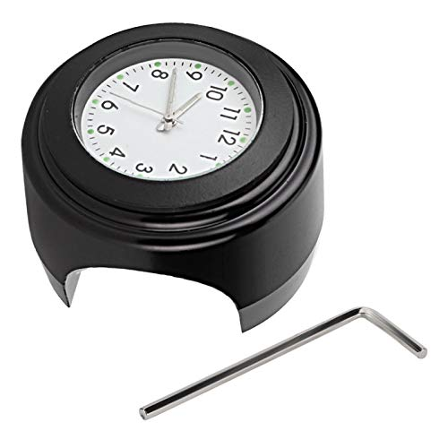 Reloj de cuarzo Reloj de barra Reloj de manillar Antigolpes para una apariencia mejorada para viajes de larga distancia(Black face white dial)