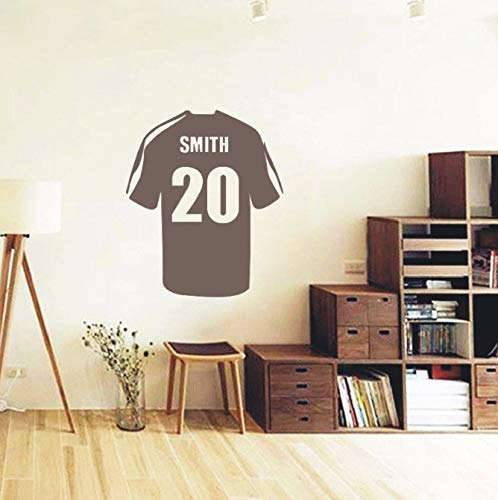 Voetbal T-Shirt Art muur Stickers Home Decor Kids Jongens Slaapkamer muur muurschildering Aangepaste naam en aantal muurstickers 58 * 69Cm