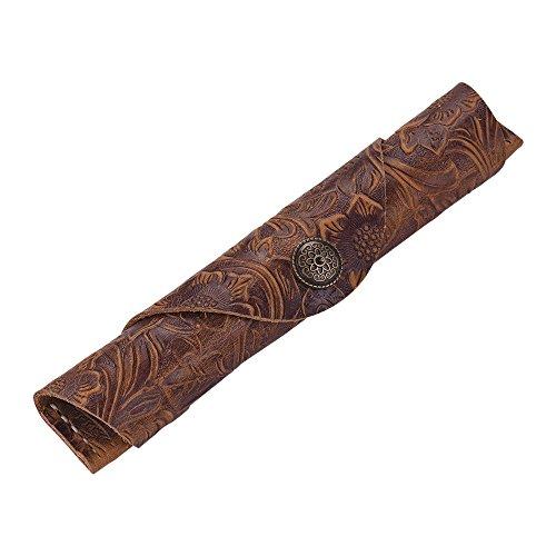Aibecy Schutzhülle für Füllfederhalter, aus Leder, Antik-Optik, handgefertigt, für 1 Kugelschreiber, Eingabestift und Kugelschreiber, 17,8 x 3 cm Brown Carving