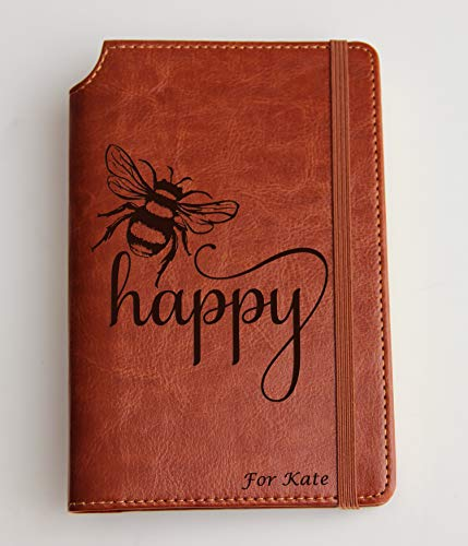Bee happy Journal with your Custom text or custom quote leather bound, strip with the same color to keep it closed, jotter,