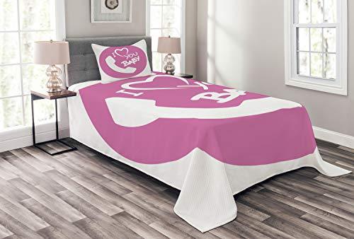ABAKUHAUS Ruf Mama Tagesdecke Set, Ich Liebe Dich Baby-Nachricht, Set mit Kissenbezügen Klare Farben, für Einselbetten 170 x 220 cm, Pale Fuchsia und Weiß