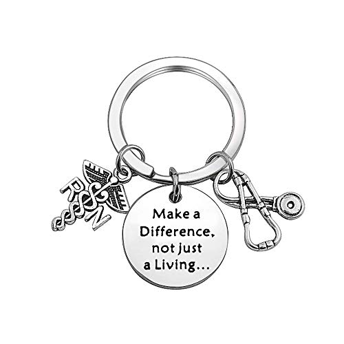 TGBJE Nurse Gift Make A Difference,Not Just A Living Stethoscope Jewelry Gift for First Responder Thank You Gift (Stethoscope Keychain)