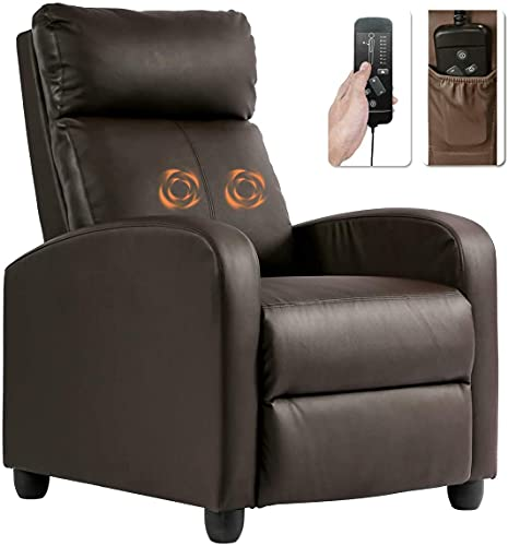 PU Leather Recliner Chair Sofa with Massage Function Padded Seat Push-Back Lounge Single Sofa for Living Room Adjustable Ergonomic Chair with Widen Armrest and Footrest Home Theater Club Chair- Brown