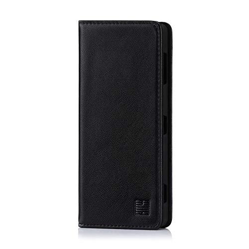 32nd Klassische Series - Lederhülle Hülle Cover für Sony Xperia XZ2 Premium, Echtleder Hülle Entwurf gemacht Mit Kartensteckplatz, Magnetisch & Standfuß - Schwarz