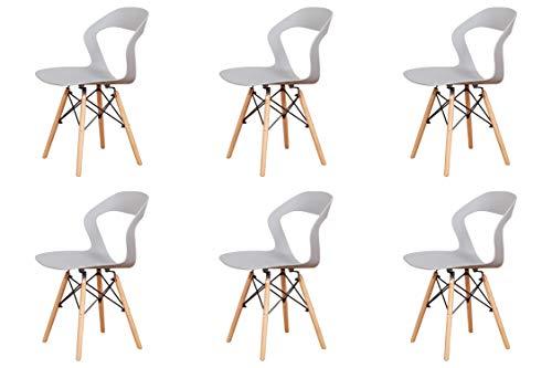 Cuatro sillas huecas de estilo nórdico con respaldo, estructura de metal fuerte,...