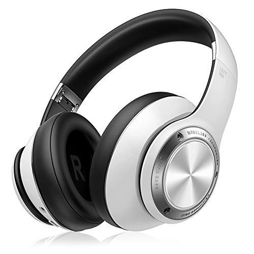 SLuB Auriculares inalámbricos Bluetooth con cancelación de ruido, auriculares plegables montados en la cabeza, micrófono incorporado y cable desmontable,Para teléfonos móviles, TV,etc(blanco)