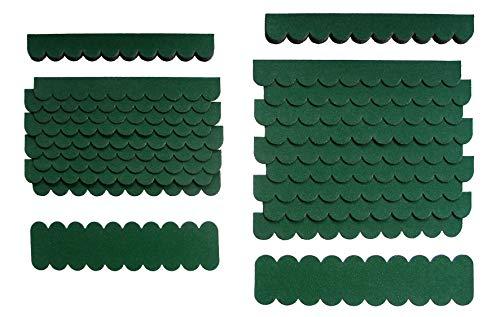 crash-marek 1,2m²-3-Sets Mini Dachschindeln,Grün,Dachpappe,Nistkasten,Vogelhäuser,Kanichenstall,Gehege,Abdeckung,Bastlersatz,Biberschwanz,Briefkasten