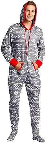 QPQ Herren Weihnachten Einteiler Pyjama Jumpsuit Onesie Overall Footed Schlafanzug für Paar Grau M