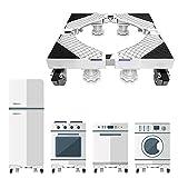 Base de lavadora móvil ajustable, Carga de apoyo 300kg, Base lavadora con 4 ruedas de bloqueo, Antivibraciones y reducción de ruido para frigorífico/aire acondicionado/secadora, Blanco