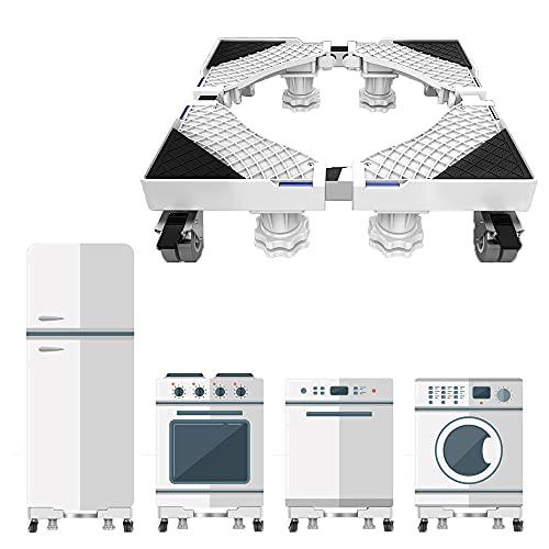 Einstellbare Waschmaschinen Podeste & Rahmen, Tragfähigkeit 300kg, Verstellbar Sockel Untergestell mit 4 Sicherungsrädern Rollen für Trockner/Kühlschrank/Klimaanlage/Desinfektionsschrankwagen, Weiß