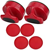 Naroote 【𝐒𝐩𝐫𝐢𝐧𝐠 𝐒𝐚𝐥𝐞 𝐆𝐢𝐟𝐭】 with 4 Pucks Table Hockey Pushers Pucks Set, Table Hockey Pushers, Red 94MM Slider ABS 185g Ergonomic Design for All Kinds Hockey Tables
