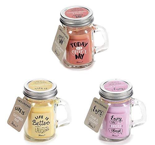 Candele eco - Glass - Set di 3 candele profumate in vetro riutilizzabili - omaggio ecofriendly - Idea Regalo - 3 pezzi - MAS-ECOMMERCE (Passion barry - Cocumber Rain - Figue & coconut)
