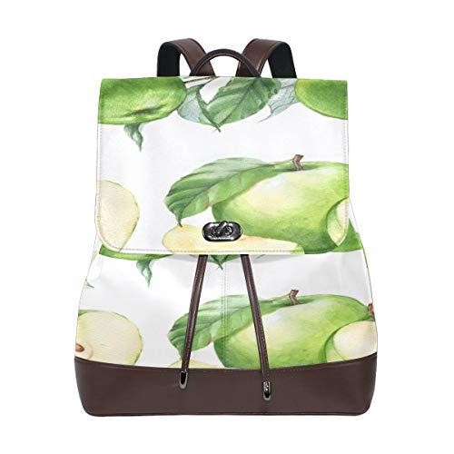 JINCAII Green Apple Healthy Fruit Mochila para mujer Mochila de cuero para mujer Mochila de cuero con cordón impermeable para niñas Bolsos de moda para mujer