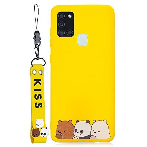 ChoosEU kompatibel mit Huawei Honor 9A Hülle Silikon Süß Muster Handyhülle für Mädchen Frau Jungs, (Schlüsselband) Dünn Silikonhülle Stoßfest Slim Hülle Schutzhülle - Gelb