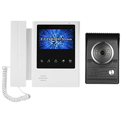 YUTRD ZCJUX Timbre De Video con Cable De 4,3 Pulgadas con Visión Nocturna Función A Prueba De Lluvia Intercom Visual Teléfono De La Puerta De Video De Audio Bidireccional (Color : A)