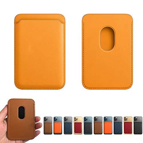 Tarjeta de teléfono de radiofrecuencia magnética Holde-Cartera de Cuero Genuino Compatible con iPhone 12 / Pro/Mini/MAX, Tarjetero magnético Magsafe RFID, Tarjetero con imán para teléfono (Yellow)