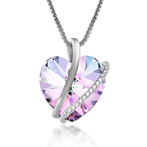 GEORGE · SMITH Classique Collier Coeur pour Femme Collier Argent avec Cristal Rose, Collier Femme Cadeau Anniversaire Femme
