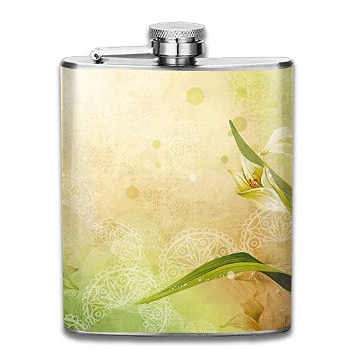Rundafuwu Frasco para Licor, Stainless Steel Hip Flask 7 Oz (No Funnel) Vector Lily Full Printed