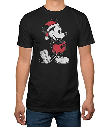 Disney Mickey Mouse Santa Men's T-Shirt (X-Large, Black)