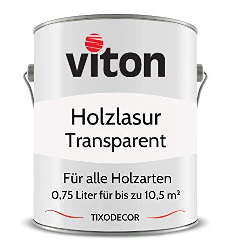 0,75 Liter Holzlasur von Viton - Farblos - 3in1 Seidenmatt - Holzschutzlasur, Lasur für Holz - Extra starker Schutz für Innen und Außen - Wetterfest, Atmungsaktiv & UV-beständig - Tixodecor