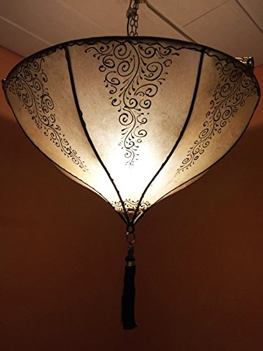 Oosterse lamp hanglamp dilay natuur 49 cm groot | Marokkaanse lederen lamp hennalamp lamp lamp met henna | Orient lampen voor woonkamer keuken of hangend boven de eettafel
