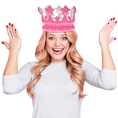 Aufblasbare Krone in Pink / Rosa   Passend für Kinder und Erwachsene   Geburtstagskrone für Geburtstag und Kindergeburtstag   Königin für einen Tag
