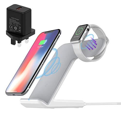 FACEVER Cargador inalámbrico 2 en 1, soporte de carga inalámbrico rápido, estación de carga Qi para iPhone 12 Pro Max 11 XR XS 8 Plus Apple Watch 6 SE 5 4 3 2 (con adaptador QC3.0), color blanco