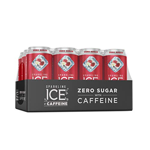Sparkling ICE +Caffeine Cherry Vanilla Sparkling Water, with Antioxidants and Vitamins, Zero Sugar, 16 fl oz Cans (Pack Of 12)