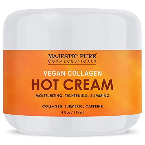 MAJESTIC PURE Cellulite Hot Cream - Soothing, Relaxing, Tightening Firming & Slimming - with Vegan Collagen, Turmeric, Caffeine - Joint and Muscle Pain, 4 oz