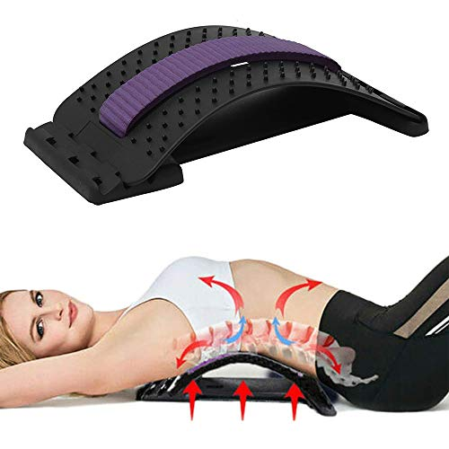 Rückenstrecker, Rückentrainer zur Rückenschmerz Linderung, Haltungskorrektor, Rückendehner für Muskelverspannungen,Back Stretcher bei Rückenschmerzen mit gepolstertem Streifen (Lila)