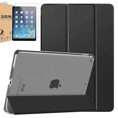 [Bundle] Polycarbonate Smart Case Compatible with iPad Air 3 10.5' 2019 / iPad Pro 10.5 inch 2017 Translucent Frosted Back Protector Cover FREE 2 Pack Tempered Glass (Black)
