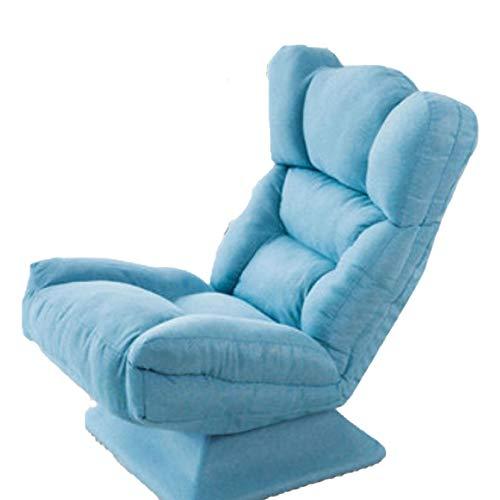 ZHANGQQ Lazy Single Tatami, Cotton Comfortable, Sofa Rotating Folding Chair Bedroom Office Small Apartment Balcony Cotton Linen Leisure Blue,Blue