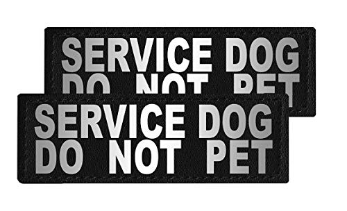 Dogline Service Dog Do Not Pet Vest Patches – Removable Service Dog Do Not Pet Patch 2-Pack with Reflective Printed Letters for Support Therapy Dog Vest Harness Collar or Leash Size B (1.5
