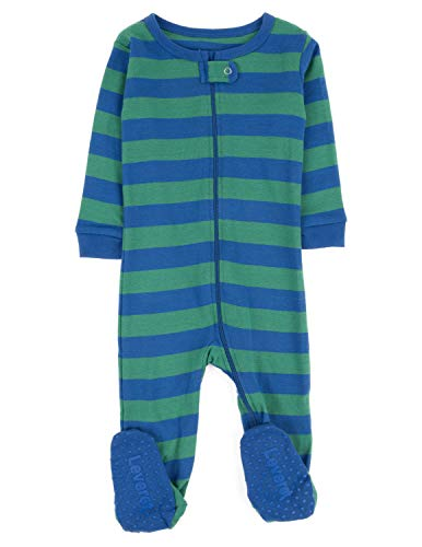 """Leveret Footed""""Striped Boy"""" Variety Pajama Sleeper 100% Cotton (Size 6M-5T) (12-18 Months, Blue & Green)"""