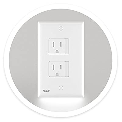 SnapPower SafeLight - Child And Baby Safety Power Outlet Wall Cover With LED Night Lights - No Batteries Or Wires - Installs In Seconds