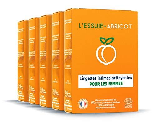 L'Essuie-Fraise - Toallitas íntimas para mujer certificadas orgánicas y biodegradables (paquete de 5 cajas de 7 toallitas individuales) //Higiene Femenina - Formula natural - 35 toallitas