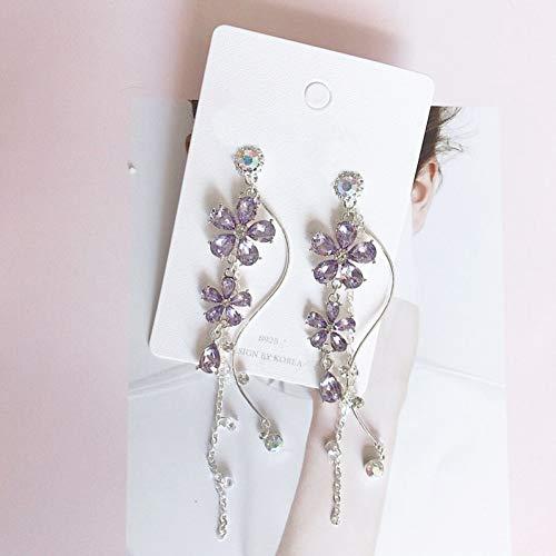 JINGM Élégantes Boucles d'oreilles en Cristal De Fleur Pourpre pour Les Femmes Élégantes Bijoux De Fête De Tempérament