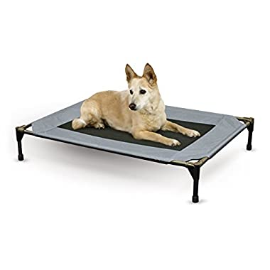 K&H Pet Products Original Pet Cot Elevated Pet Bed Large Gray/Mesh 30  x 42  x 7