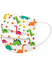 50Pcs Cute Dinosaur Printed Kids Disposable_Face_Masks 3 Layer Face Protection Against Droplet Anti-Particle and Dust Breathable Mouth Nose Cover Unisex
