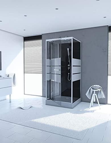 MARWELL Komplettdusche Fertigdusche 90 x 90 x 225 cm – rechteckige Dusche mit Fronteinstieg – Duschkabine mit hochwertigen Aluminiumprofilen - Einstiegshöhe 15 cm
