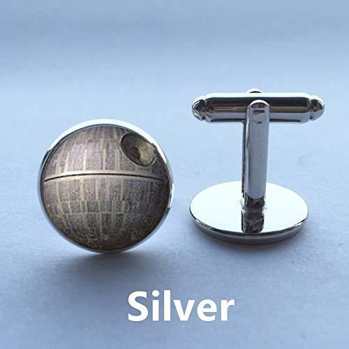Gemelos de plata para hombre, diseño de estrella de la muerte de Star Wars