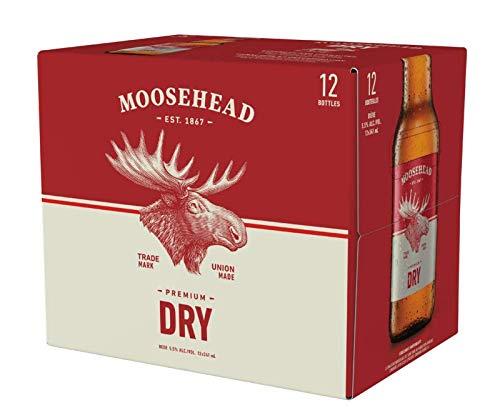 12 Flaschen Moosehead Premium Dry 0,341 l original Bier aus Kanada mit 5,5% Alc