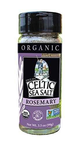 Gourmet Celtic Sea Salt Organic Rosemary Salt Shaker – Delicious, Bold Rosemary Sea Salt Adds Flavor to a Variety of Dishes, Hand Crafted and Organic, 3.5 Ounces