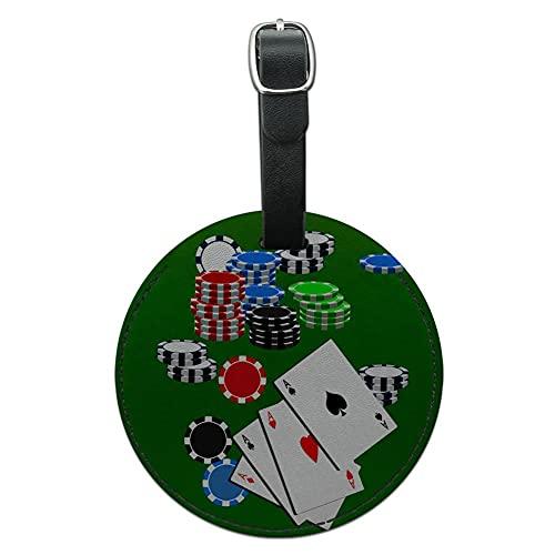 Graphics & More Poker Aces Cards Fichas de juego de cuero redondo para equipaje de mano, color negro