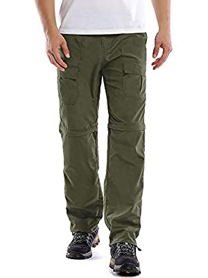 Mens Hiking Pants Quick Dry Convertible Fishing Cargo UPF Lightweight Outdoor Work Anytime Nylon Pants 6062,Army Green,40