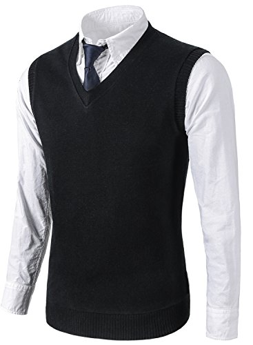 MIEDEON Mens Various Color Casual Slim Fit Knit Vest sweater,Large,Black