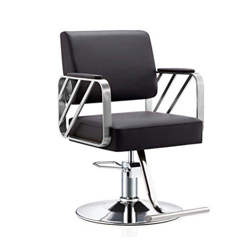 Equipo diario Sillón de belleza Sillón de peluquero Sillón giratorio de peluquería Sillón de peluquero de salón moderno Sillas de peinado profesionales de belleza Elevador hidráulico (Color: Negro