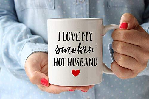 errita su corazón con un mensaje súper lindo Amo a mi esposo caliente Smokin Taza de café Regalo para el amante Esposo Esposa en el día de la madre Día del padre Cumpleaños Navidad Acción de graciasan