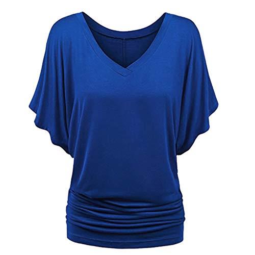 TTlove_Women Damska bluzka z krótkim rękawem z okrągłym dekoltem z podszewką kwiatowa koronka bluzka t-shirt duży rozmiar, swobodna bluzka z okrągłym dekoltem o linii A rozwiewna prosta tunika topy